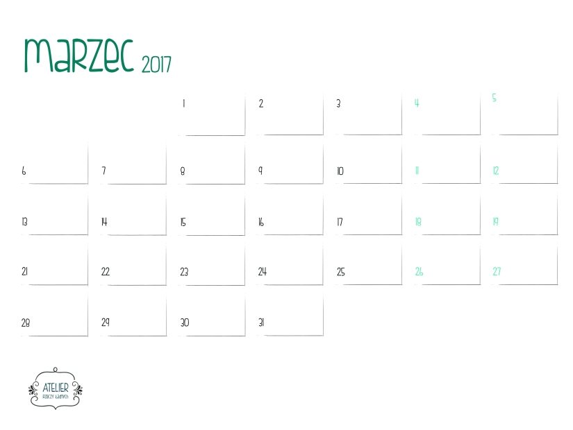 kalendarz Atelier marzec