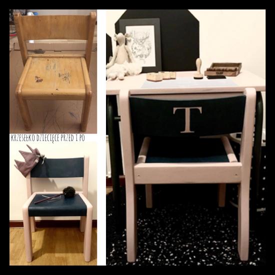 krzesełko dziecięce przed i po